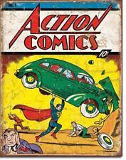 Tebeos de la acción con el cartel de chapa vintage diseño Estados Unidos de Superman número 1 cubierta