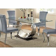 Coaster Furniture Manessier Rectangular Glass Dining Table in Chrome