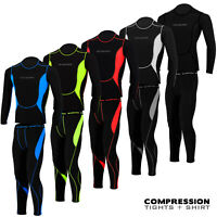 Mens Compression Tights + Top T-Shirt Base Layer Armour Gym Trousers Under Suit