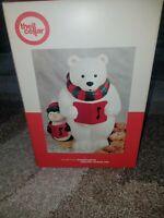 Cookie Jar ~ Holiday Christmas Ceramic Polar Bear ~ Handpainted Macy's NIB