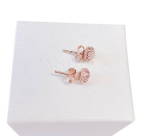 New 100% Authentic PANDORA Rose Pink Sparkling Crown Stud Earrings 288311C01