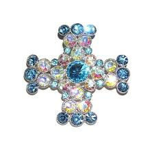 BROOCH/PIN/PENDANT Blue & AB Iridescent Rhinestones DAZZLING CELTIC CROSS