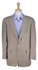 Paul Stuart Olive/Beige/Blue Check Wool-Silk 2-Btn Sportcoat Blazer 42R