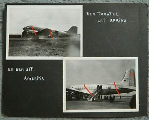 🔴Vintage LOT Dutch American-Overseas-Airlines  PHOTO'S 1946 Aircraft + African
