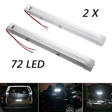 2x 12V 72 LED Car ON OFF Switch Interior White Strip Lights Bar Lamp Van Caravan