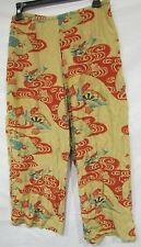 CITRON CROPPED PANTS FLORAL GEOMETRIC PRINT GOLD RED STRETCH SZ M