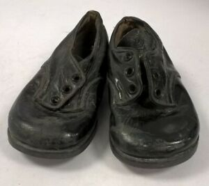 Antique? Vintage Leather Shoes Boys Size 3 Black Big Dolls #430