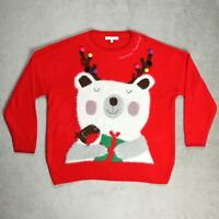 Womens NEXT Christmas Jumper Size UK 20 Knitted Ugly Sweater Red Novelty Festive