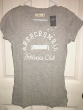 NWT Abercrombie & Fitch Shine Sequin Embellished Logo Tee T Shirt Top Gray M