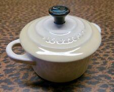 New listing Le Creuset Cocette Mini Round Stoneware Enamel Dune / Almond / White Euc