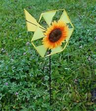2x éolienne jardin TOURNESOL JEU DU VENT déco fleur jaune