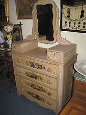 Antique Chest Of Drawers With Mirror Victorian 1880's Hand Painted With Flowers