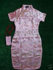 New Girls Pink Satin Butterfly Chinese Oriental Dress 11-12 Years With Purse