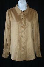NWT Coldwater Creek Sz M Brown Pintucked Romantic Ruffled Western Shirt Top