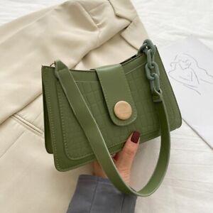 Women Leather Bag Stone Pattern Shoulder Handbags Baguette Designer Underarm Bag