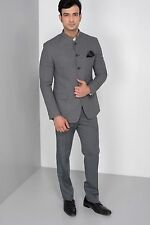 Men Wedding Bespoke Ash Grey Jodhpuri 3Pc Suit Mandarin Coat Pant Shirt FL101 $