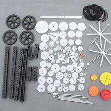92Pcs Plastic Gears Rack Belt Pulley Single/Double Gears Crown Gears for Toys