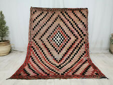 "Vintage Moroccan Handmade Wool Rug 4'4""x5'7"" Berber Checkered Black Red Rug"
