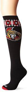 Reebok Women's NHL Ottawa Senators Hockey Knee High Socks, Black, One Size