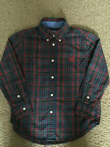 Chaps Boys Button Down Dress Shirt ~ Size 6 ~ Red And Green~  Easy Care