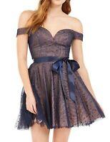 Teeze me Dress Blue Size 9 Junior Sheath Sequined Sweetheart-Neckline $79- 308