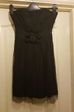 MISO BLACK LBD STRAPLESS BANDEAU SHEER MESH CORSAGE DETAIL PROM PARTY DRESS - 10