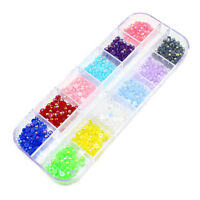 1x Nail Art 3.0mm Baby Pearl 12 Colors Decoration Rhinestone Half Round Flat Box