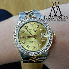 Rolex Datejust Custom Diamond Bezel & Custom Champagne Dial 2 Tone Watch