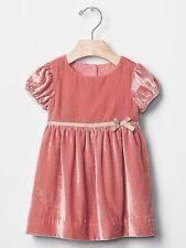 GAP Baby Girls Size 6-12 Months Pink / Gold Velvet Festive Party Dress w/Bow
