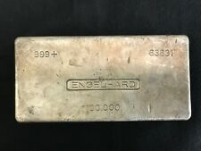 100 oz Engelhard Silver Bar (Poured) .999 Fine very rare! Will not see another!