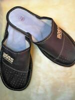 MENS 100% NATURAL LEATHER BOSS SLIPPERS MULES CLOGS SHOES ALL SIZES