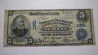 $5 1902 Albany New York NY National Currency Bank Note Bill! Ch. #1301 FINE!