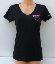 TOMMY JEANS Black V-Neck Signature Logo Graphic T-Shirt Top Tee Size M BNWT