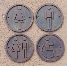 "NEW, Hand Made Man Woman Wheel Chair Toilet, Bathroom ""Bronze"" SET OF 4 signs"