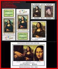 Leonardo da Vinci paintings / Mona Lisa = 5 different STAMPS + S/S block MNH **