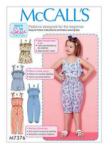 McCalls M7376 PATTERN - Childrens/Girls Rompers & Jumpsuits - Size 2 - 8