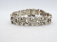 Vintage Taxco Mexico Sterling Silver Heavy Panel Link Bracelet, 56.7g
