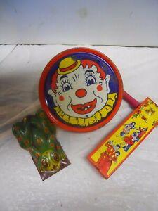 3 Vintage Noisemakers Tin Litho Frog, Clown & Dancers Kirchhof Wooden Handle