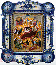 Russian Porcelain Gzhel Christian Icon Nativity of the Lord Рождество Христово