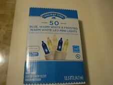 New ! Holiday Time 50 PK Blue, Warm White & Frosted Warm White LED Mini Lights