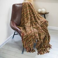 Luxury Thick Fluffy Chenille Knitted Throw Blanket With Decorative Fringe 60x50