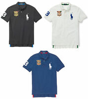 Polo Ralph Lauren Mens Big Pony Crest #3 Blue Black White Solid Button Shirt New