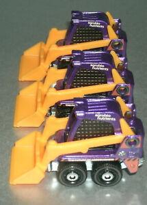 Three 1/64 Scale Wheeled Skid Steer Loader Diecast Toy Skidster - Matchbox GKJ03
