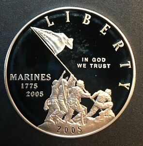 United States - Silver 1 Dollar Coin - 'Marine Corps' - 2005 - Proof