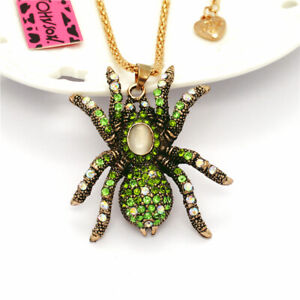 Shiny Green Inlaid Crystal Retro Spider Pendant Betsey Johnson Chain Necklace