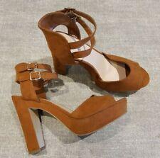 New Look size 6 (39) tan faux suede buckle strap platform peep toe block heels
