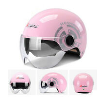 Pink Motorcycle Half Helmet Dual Sun Visor Scooter Chopper Women Safety Helmet