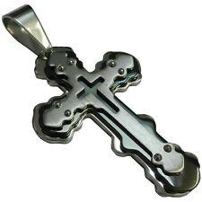 Cruz de acero inoxidable colgante Collar Cadenas Plata Negro