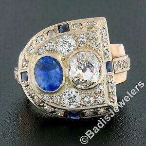 Antique Retro 14K Gold 3.65ct Bezel GIA Cushion Diamond & Sapphire Cocktail Ring