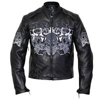 Flaming Skulls Cruiser Armored Motorcycle Cowhide Leather Jacket